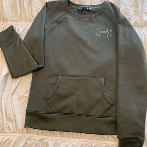 Olive underarmor crew neck sweater with pocket